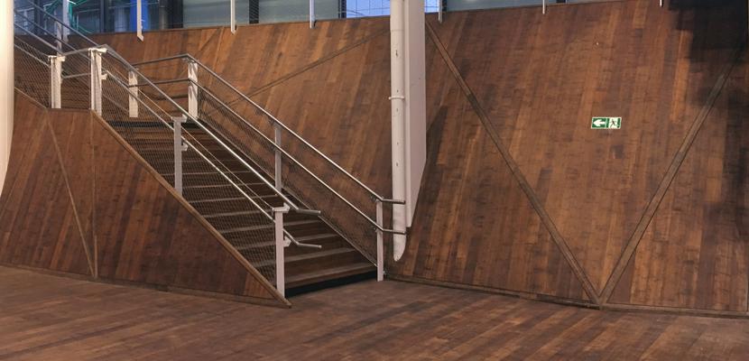 habillage escalier parquet bambou gare de rennes