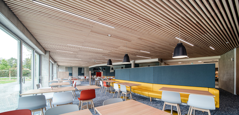 plafond technique cafétaria siège social K-Line